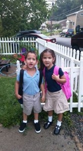 The twins on their first day of kindergarten